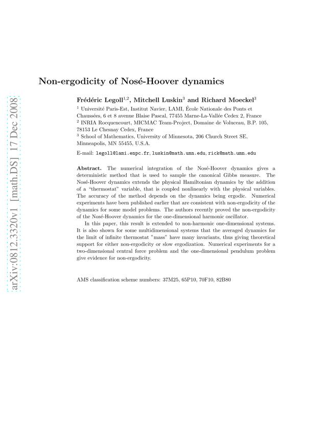 Frederic Legoll - Non-ergodicity of Nose-Hoover dynamics