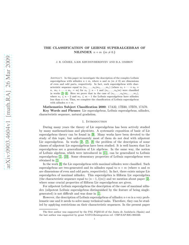 J. R. Gomez - The classification of Leibniz superalgebras of nilindex n+m (m\neq 0)