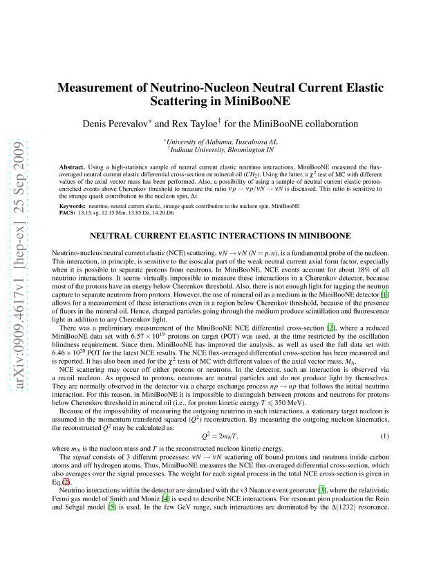Denis Perevalov - Measurement of Neutrino-Nucleon Neutral Current Elastic Scattering in MiniBooNE