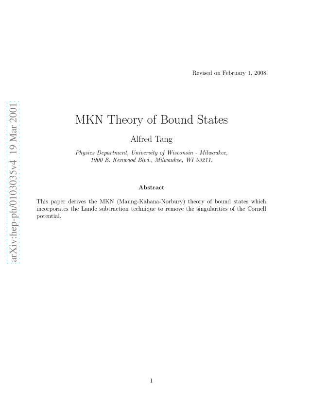 Alfred Tang - MKN Theory of Bound States