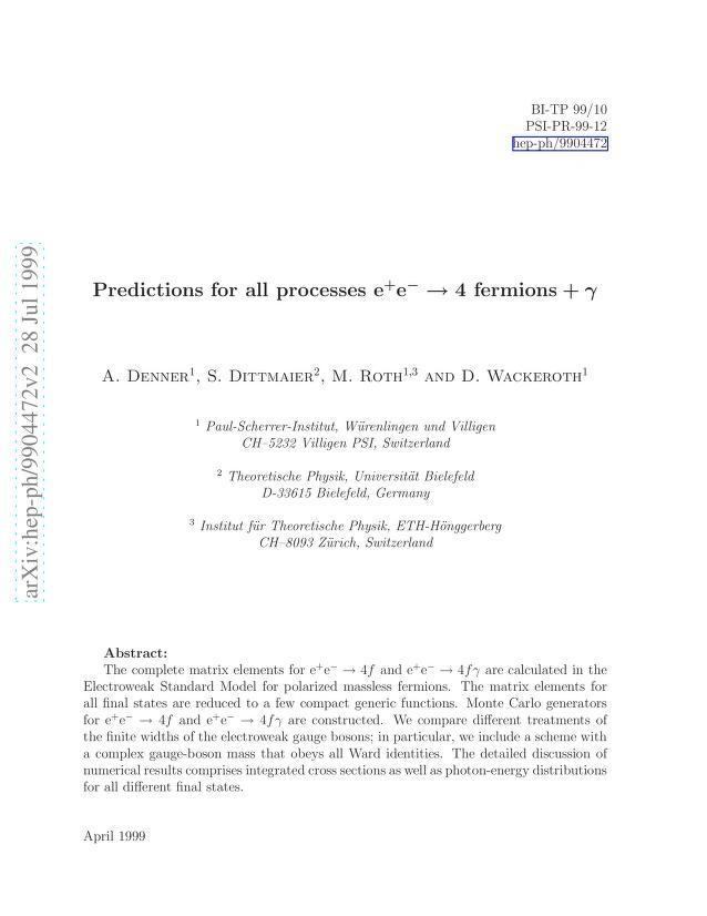 A. Denner - Predictions for all processes e^+e^- -> 4 fermions + gamma