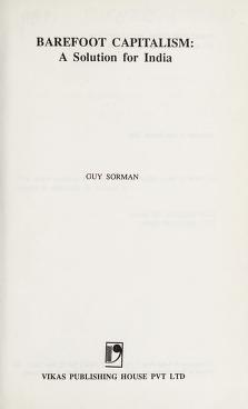 Cover of: Barefoot capitalism   Guy Sorman