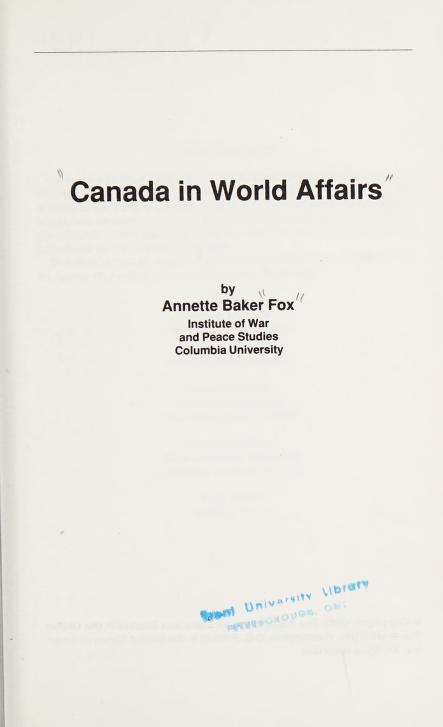 Canada in world affairs by Annette Baker Fox