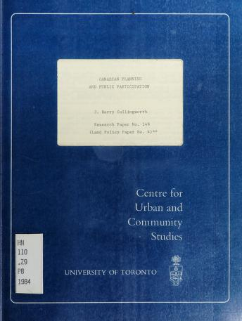 Cover of: Canadian planning and public participation | J. B. Cullingworth
