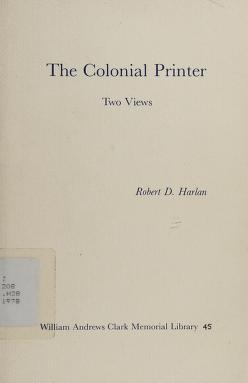 Cover of: The colonial printer | Robert Dale Harlan