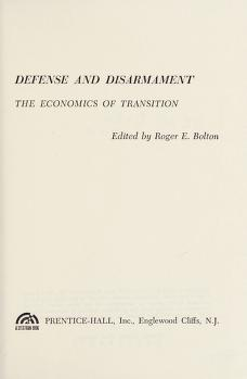 Cover of: Defense and disarmament | Roger E. Bolton
