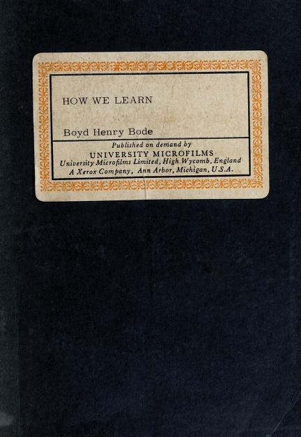 How we learn by Boyd Henry Bode