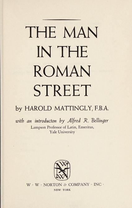 The man in the Roman street by Harold Mattingly