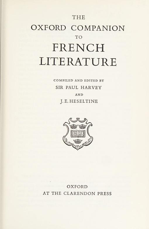 The Oxford companion to French literature by Sir Paul Harvey